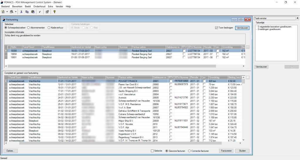 Screenshot beheer facturering