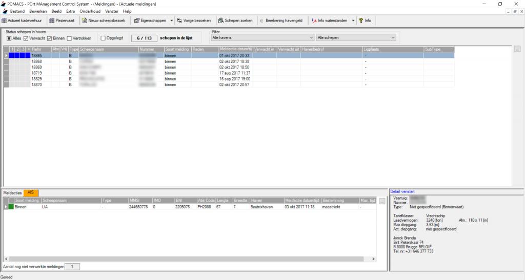 Screenshot AIS meldingen